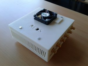 A top picture of the LimeSDR in its case with fan, with top cover.
